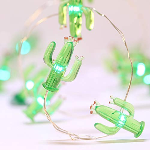 Cactus String Lights Battery Operated, Mexico Style House Decor 10ft 40LEDs Green Tropical Desert Garden Plant Fairy Lights for Summer Beach Home Bedroom Indoor Outdoor Decorations