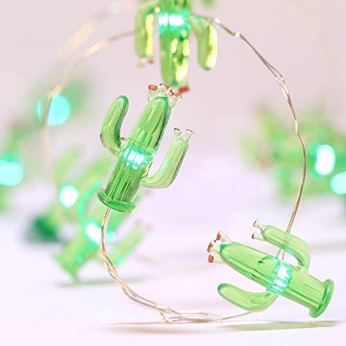 10 Fuß 40 LEDs Lichterkette, Sommer Strand Thema Dekoration, Mexiko/Mittelmeer-Stil Haus Dekor Batterie mit 12 Modi, Fernbedienung und Timer für Mädchen Jungen Schlafzimmer (Grün Kaktus)