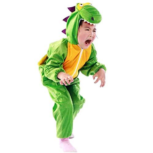 LUOEM Disfraz de dinosaurio verde para niños, unisex, talla M, adecuado para altura de 90 a 105 cm, ideal para fiestas, cumpleaños, carnaval, fiestas, accesorios para fotos verde L