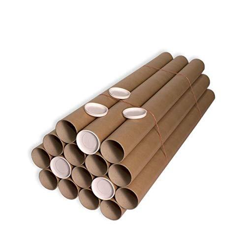 Pack 16 unidades Tubo cartón 76 x 1000 mm. Marrón. Cartón Compacto. Medidas 76mm diámetro int. x 1000mm largo. Incluye tapas blancas de plástico. Almacenaje de documentos.