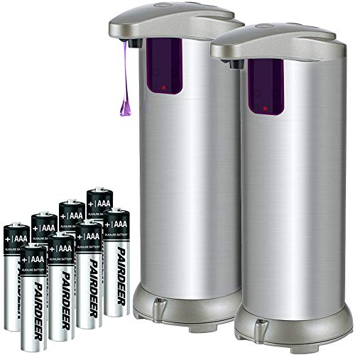 Soap Dispenser, Lovin Product Premium Touchless Automatic Soap Dispenser; Adjustable Soap Volume, Infrared Motion Sensor, Brushed Stainless-Steel, Dish Liquid Dispensers for Kitchen, Bathroom (2 PACK)