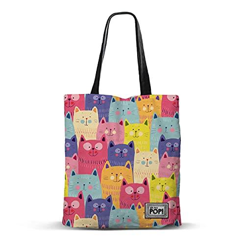 Oh My Pop!-02548 Cats-Bolsa de la Compra Shopping Bag, Multicolor (Karactermania