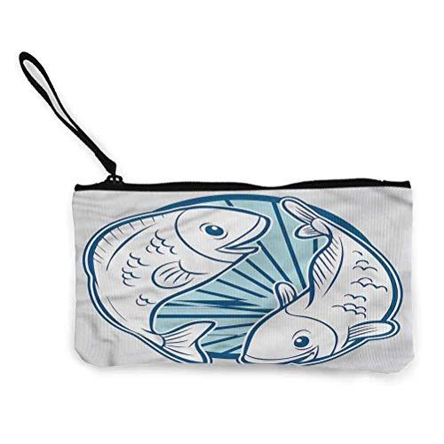 Zodiac Pisces Candy Schokoladentasche Mehrzweck Leinwand Reißverschluss Make-up Tasche Cartoon Fish Aquatic