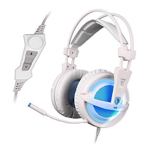 Docooler SADES A6 Auriculares estéreo para Juegos con micrófono USB Interno, Auriculares estéreo para Juegos con reducción de Ruido LED y Efecto de Sonido de Alta fidelidad