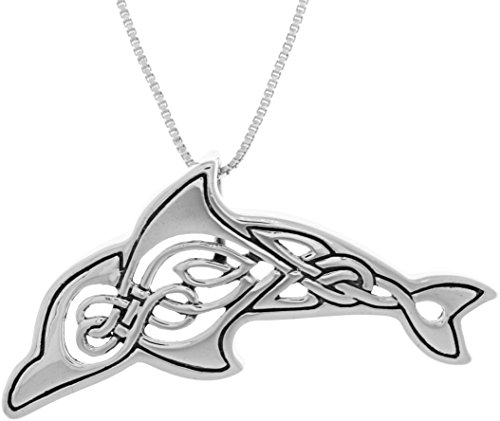 Jewelry Trends Celtic Knot Dolphin Whale Sterling Silver Pendant Necklace 18'