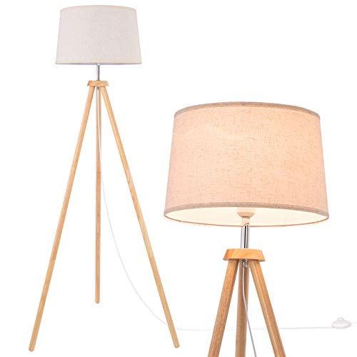 WUDSEE Tripod Floor Lamp 150cm E27 Base Max.60W Wooden Modern Tripod Standing Light with Fabric Shade for Living Room Lounge Bedroom Office Studio