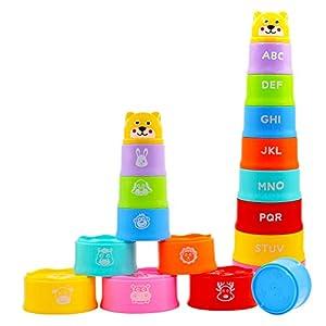 AGAKY Cubos Apilables Bebe, 9 Piezas Juguete Taza Apilable, Juguete de Playa y Baño para Bebés, Juguetes Educativos Apilables, Taza de Juguete para Bebé para Niños Más de 6 Meses