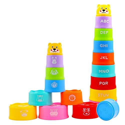 AGAKY 9 vasos apilables para bebé, 6 meses, apilables, juguetes para clasificar y apilar, dados apilables, juguetes de arena para el baño con carta digital de animales, juguetes educativos para niños