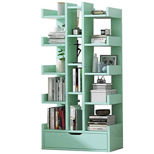 LJFYXZ Estanterías Librerias Librería de Almacenamiento De Madera Estante de exhibición de 16 Niveles Estantes Independientes para la Oficina en casa (Color : Green)