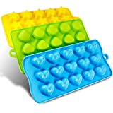 HelpCuisine Silicone Moulds Baking, Silicone molds ice Cube Tray for Hearts, Stars & Shells, Pack of 3 -Ideal for Chocolate, Candles, Jello ecc, BPA Free and FDA Approved, Make Happy Your Kids