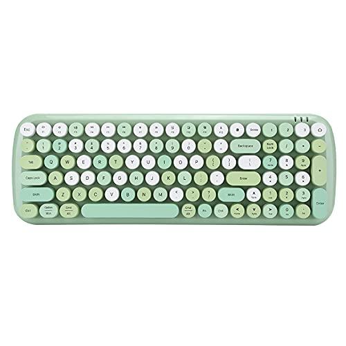 Teclado inalámbrico Bluetooth 5.1 Diapasón con pilas 100 teclas inalámbricas Clavier inalámbrico Panel de teclas con adorables teclas redondas para ordenador, teléfono móvil, tableta verde