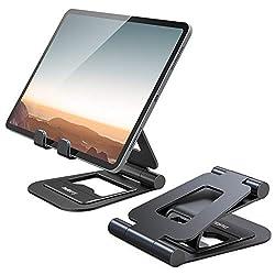 NULAXY A5 Tablet Ständer, Faltbar Tablet Halterung: Tisch Tablet Staender für New 2020 iPad Pro 12.9, 10.5, 9.7, iPad Air Mini 2 3 4, Switch, Samsung Tab und Alle 4.7-13 Zoll Geräte (Schwarz)