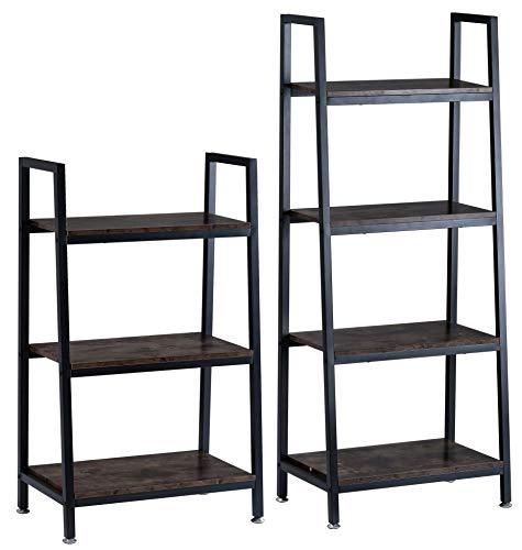 BOTONE Stabiles, Dunkles Regal, Bücherregal in rustikaler Holz-Optik für Wohnzimmer, Schlafzimmer und Flur mit DREI Holzböden und schrägem schwarzen Metallrahmen; (60x35x106cm)
