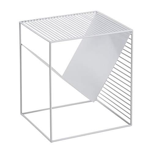 LXF Modern stil sidobord med förvaring, metallram accent hallmöbler, vit, järn, 40 x 35 x 45 cm