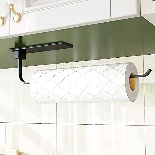 Paper Towel Holder Under Cabinet Mount, 1Easylife Self Adhesive or Drilling Wall Mounted Paper Towel Rack Matte Black Roll Holder for Kitchen, Pantry, Bathroom, Stainless Steel
