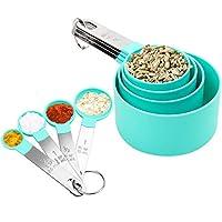 snungphir set di 8 cucchiai dosatori, 4 misurini di tazze e 4 misurini cucchiai cup per cucina cottura per misurare utensile da cucina