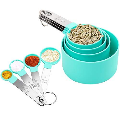 SNUNGPHIR Juegos de 8 Cucharas Medidoras, Taza y Cuchara de Medición con Mango de Acero Inoxidable, Medidores Cocina para Medir Líquidos y Los Ingredientes