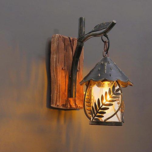 Nordic Rétro Style Industriel En Fer Forgé Appliques Creative Lampe De Mur En Bois Loft Café Bar Allée Décoration Lampes, Source De Lumière E27 * 1, Taille 20 * 40 cm