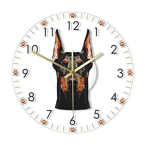 hufeng Reloj de Pared Doberman Pinscher Head Led Reloj de Pared Doberman Retrato silencioso sin tictac decoración del hogar Cachorro Perro Mascota Raza Regalo