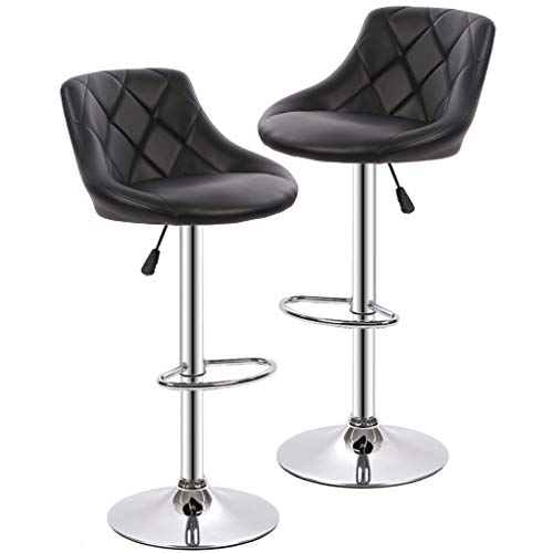 BestOffice SET (2) Black Bar Stools Leather Modern Hydraulic Swivel Dinning Chair Barstools