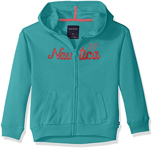Nautica Girls' Little Long Sleeve Hoody, Dark Aqua Logos, 5