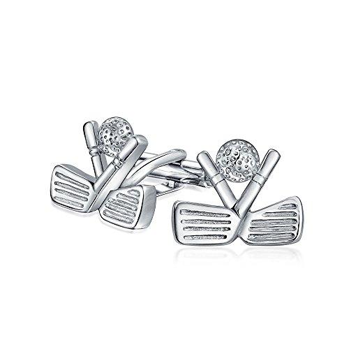 Bling Jewelry Golf Clubs Ball Caddy Golfspieler Sport Trainer Für Herren Shirt Manschettenknöpfe Edelstahl Scharnier Messing Zurück