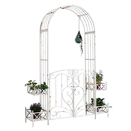 YICOL Garden Trellis Arch with Gate Wedding Arch Party Ceremony Decoration for Climbing Plants,Wrought Iron,Vintage White