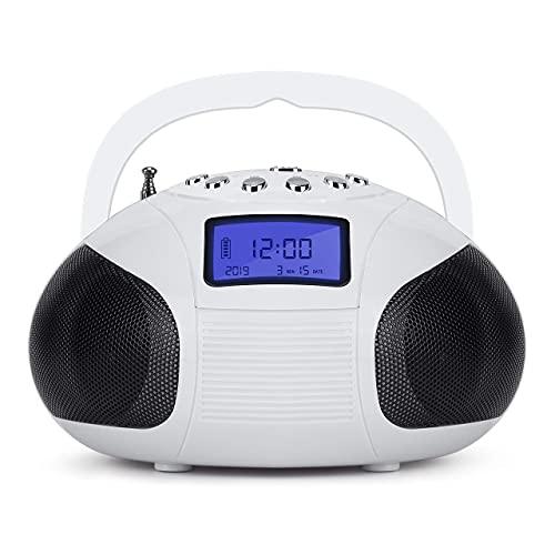 August SE20 Altavoz Bluetooth Radio Portátil - 2 x 3W Hi-Fi Altavoces Radio FM Alarma Despertador Mini sistema Estéreo Lector de MP3 SD  USB   AUX In - Batería Recargable