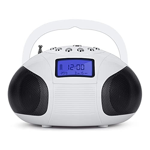 August SE20 Altavoz Bluetooth Radio Portátil - 2 x 3W Hi-Fi Altavoces Radio FM Alarma Despertador Mini sistema Estéreo Lector de MP3 SD /USB / AUX In - Batería Recargable