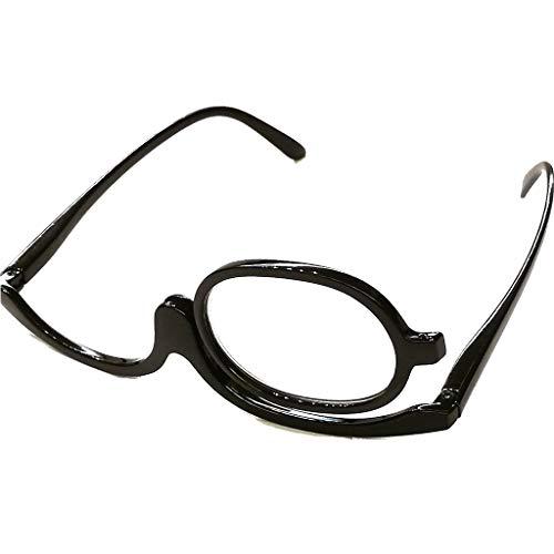 Schöne modische Schminkbrille Damen Frauen für 1 Auge Schminken in drei Farben mit Federscharnier (Schwarz, 1.5)