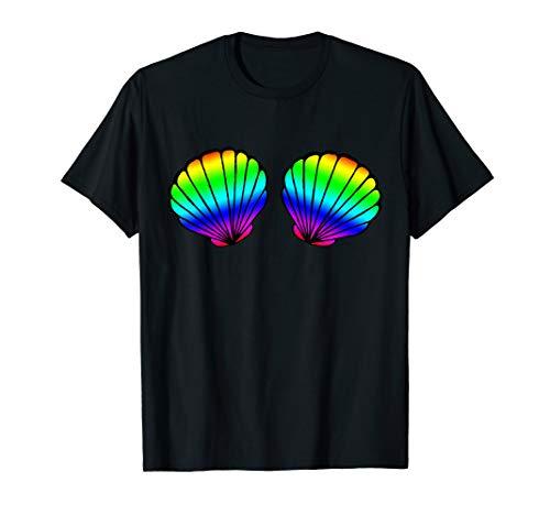 Rainbow Seashell Mermaid Bikini Bra Brassiere Gay LGBT Shell T-Shirt