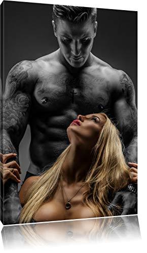 Pixxprint Sexy Frau mit tätowiertem Mann als Leinwandbild | Größe: 60x40 cm | Wandbild | Kunstdruck | fertig bespannt