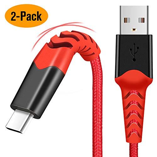 USB C Kabel [2m 2 Stück] Typ C Ladekabel Sync Datenkabel Nylon Schnellladekabel für Samsung Galaxy A70 A50 A40 M30 A20e S10 S9 S8 Plus Note 9 8,Xiaomi Note 8 Pro,Huawei P30 Lite,Blackview A60(Rot)