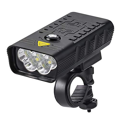 SHIZIZUO Faros de bicicleta, luz delantera de la bicicleta, faro de bicicleta USB de carga 3000LM LED linterna frontal impermeable (5xT6)