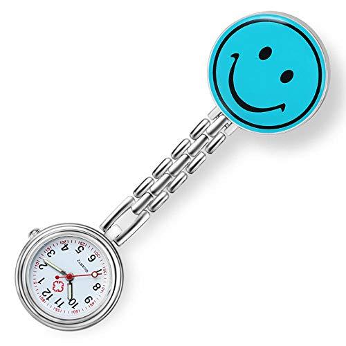 Reloj de Bolsillo con Broche,Reloj de Bolsillo de Moda de Dibujos Animados, Lindo Reloj de Pecho Sonriente, Azul Cielo,Reloj de Enfermera Resistente al Agua