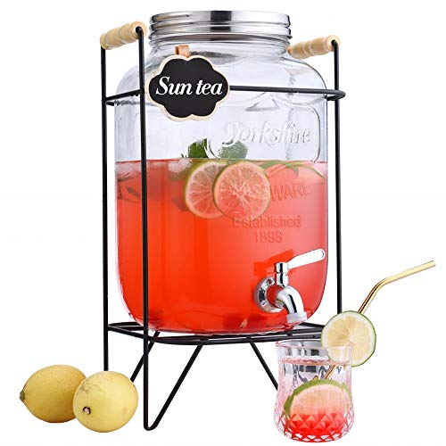 2 Gallon Beverage Dispenser with stand,Clear Glass Drink Dispenser with Stainless Steel Spigot,FOR COLD BEVERAGES ONLY!,Mason Jar drink dispenser,Clear...