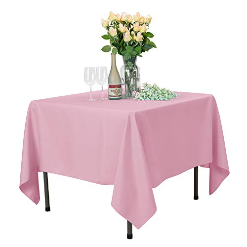 Veeyoo - Tovaglia quadrata, 100% poliestere, per tavolo da interno ed esterno, tinta unita, per feste di nozze, ristorante, caffetteria, Tessuto, rosa, Square-215 x 215 cm