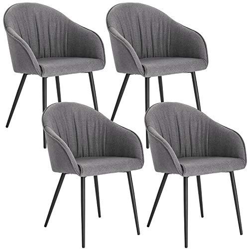 Lestarain 4er Set Esszimmerstühle, Küchenstuhl Polsterstuhl Sessel Aus Leinen Mit Armlehne Metallbeine, Stuhl Für Esszimmer Wohnzimmer, Grau