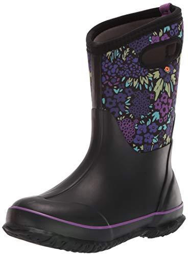 BOGS unisex child Classic Print Waterproof Rain Boot, Big Nw Garden - Black, 4 Big Kid US