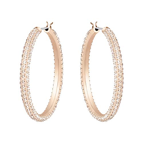 Swarovski Women's Stone Earrings, Pair of Pierced Hoop Earrings with Swarovski Crystals, Rose-gold Tone Plated, from the Swarovski Stone Collection