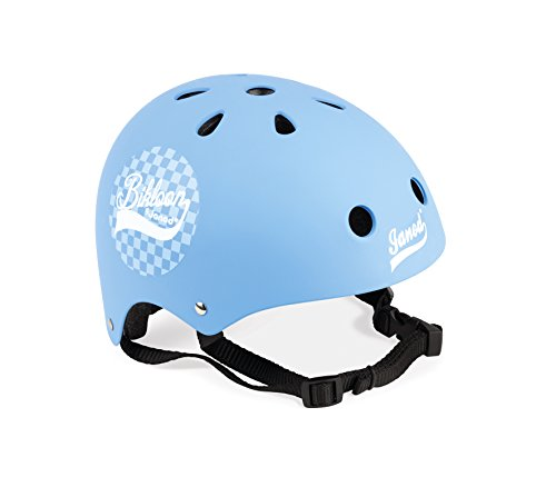 Janod- Bikloon Casco Bici per Bambini Regolabile, Colore Blu, 1