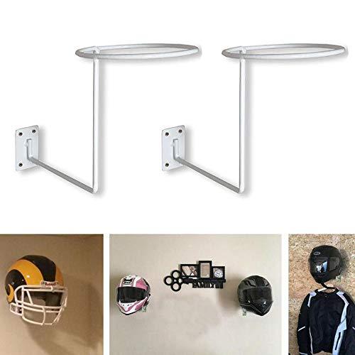 PEI Motorcycle Accessories, Helmet Hanger Helmet Holder Rack Wall Mounted Hook for Coats, Hats, Caps - (2 Pack White)