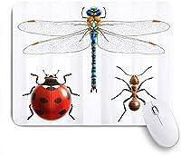 VAMIX マウスパッド 個性的 おしゃれ 柔軟 かわいい ゴム製裏面 ゲーミングマウスパッド PC ノートパソコン オフィス用 デスクマット 滑り止め 耐久性が良い おもしろいパターン (トンボてんとう虫アリカラフルおかしい)