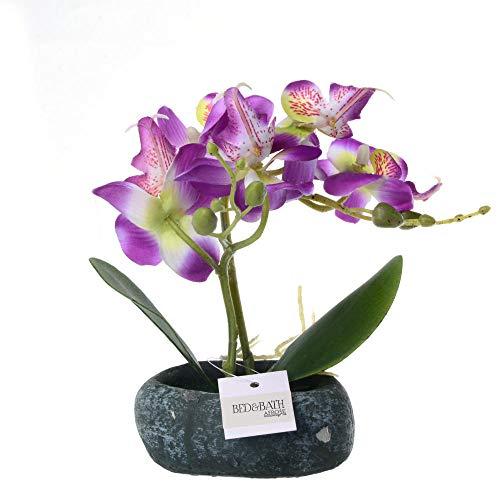 chuanglanja Flor Artificial Exterior Flor Artificial Phalaenopsis Bonsai (Incluyendo Macetas) Flores Artificiales Coración l Hogar-Púrpura