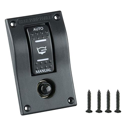 Amarine Made PN-AB1-4 12v Deluxe LED Rocker Bilge Pump Switch Panel & Circuit Breaker - Auto/Off/Man PN-AB1-4