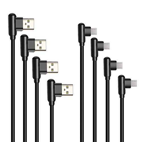 Micro USB Cable Right Angle 4 Pack 1ft 3ft 6ft 10ft Android Cable 90 Degree Charging Cable for Samsung Galaxy S6 S7 Note 7 6 HTC Power Bank Tablet Android Cord