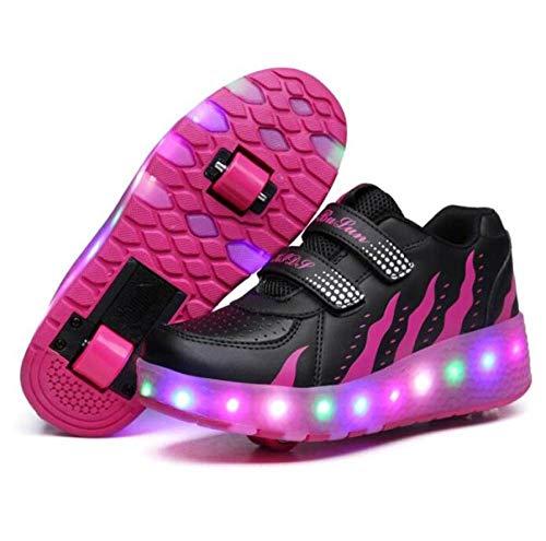 nnn LED Doble Ruedas Patines Deportes Zapatos, Niñas Niño Running Zapatillas De Skateboard Ruedas Iluminan Los Entrenadores Ajustable Rueda Automática,RoseRed-35