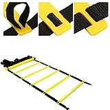 Dioche Escalera Futbol, Premium Super Flat Escalera Ajustable, Equipo de Entrenamiento de Velocidad para Trabajo de pies de Alta Intensidad, Unisex Adulto(7 - Peldaño-Amarillo + Negro)