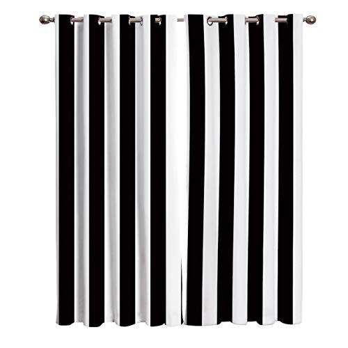 Cortinas para Habitación de Salón Opacas y Térmicas Aislantes Rayas Verticales Blancas y Negras UV la Luz Proteccion Privacidad con Ojales para Dormitorio 140x250cm x2