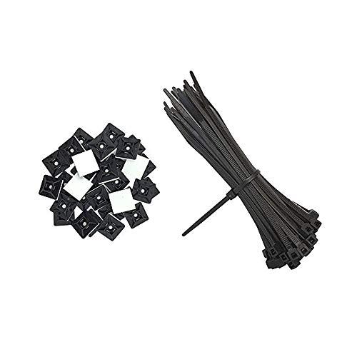 Nsiwem Soporte Cables Sujetacables Adhesivo Set Autoadhesivo Sujetacables Base De Montaje Soporte Cables, con Bridas Plastico Sujetacables Bridas Negras para Organizar Cables, 200 piezas